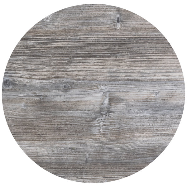 "BFM Seating DW24R Midtown 24"" Round Indoor Tabletop - Driftwood"