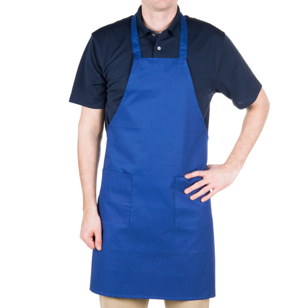 "Choice Royal Blue Full Length Bib Apron with Pockets - 34"" x 32""W"