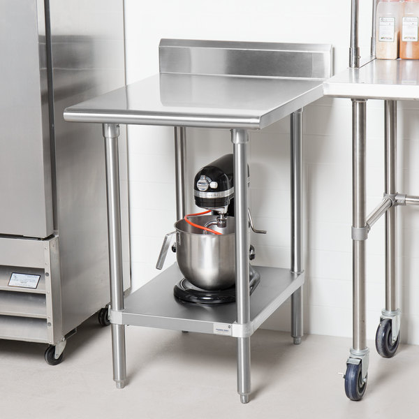 "Advance Tabco KSS-242 24"" x 24"" 14 Gauge Work Table with Stainless Steel Undershelf and 5"" Backsplash"