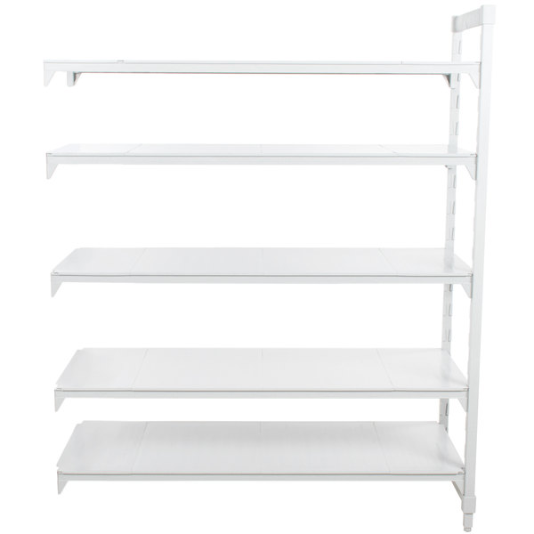 "Cambro CPA213684S5PKG Camshelving® Premium 5 Shelf Solid Add On Unit - 21"" x 36"" x 84"""