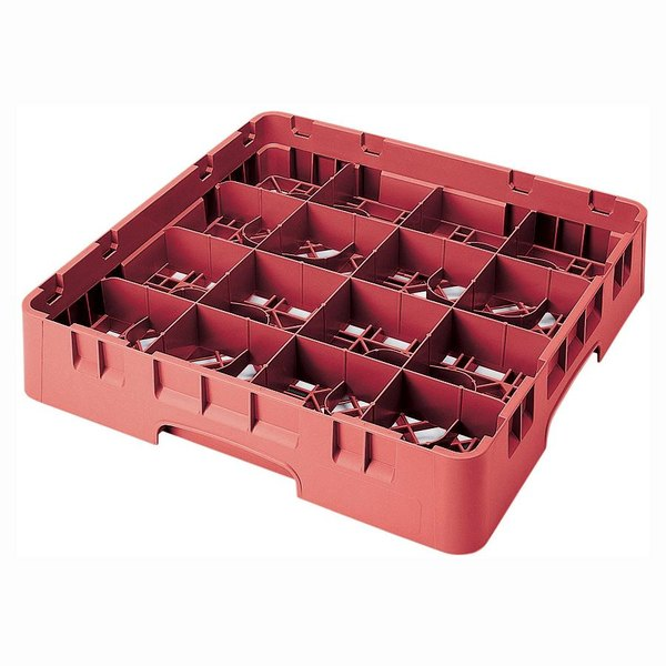 """Cambro 16S434163 Camrack 5 1/4"""" High Customizable Red 16 Compartment Glass Rack"""
