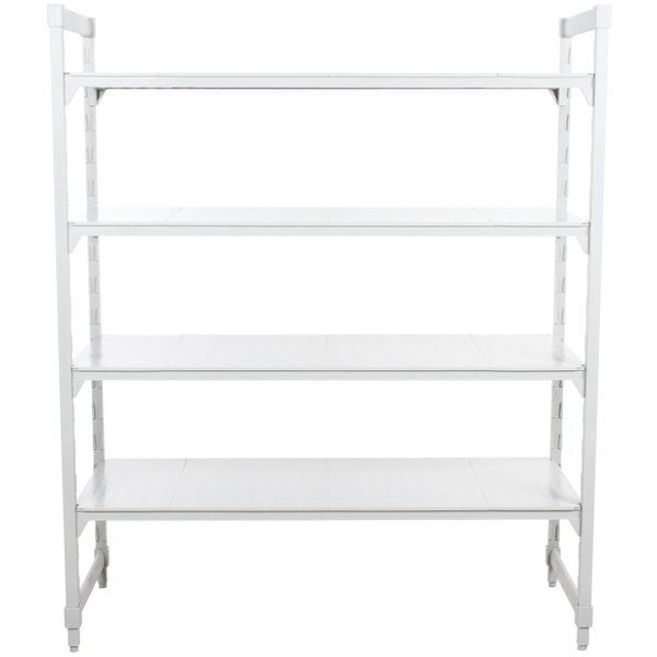 "Cambro CPU183684S4PKG Camshelving® Premium Solid 4-Shelf Stationary Starter Unit - 18"" x 36"" x 84"""