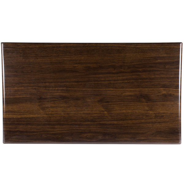 "BFM Seating TTRSN3072WA Resin 30"" x 72"" Rectangular Indoor Tabletop - Walnut"