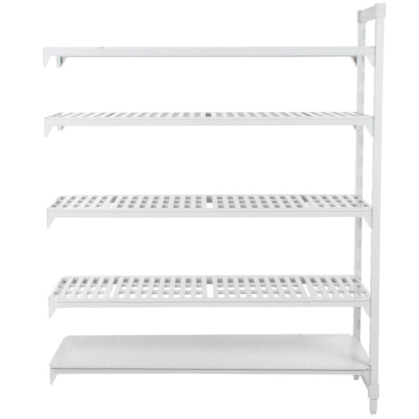 "Cambro CPA217284VS5PKG Camshelving® Premium Stationary Add-On Shelving Unit with 4 Vented Shelves and 1 Solid Shelf - 21"" x 72"" x 84"""