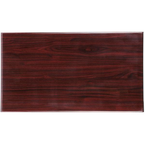 "BFM Seating TTRSN3072MH Resin 30"" x 72"" Rectangular Indoor Tabletop - Mahogany Main Image 1"