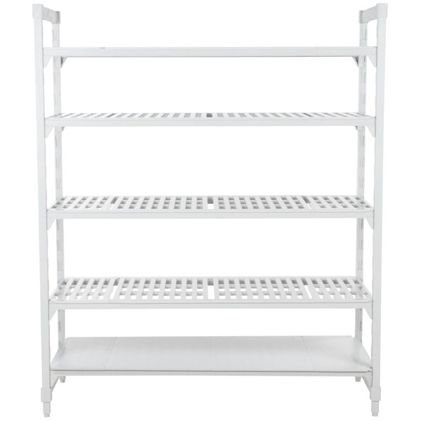 "Cambro CPU183084VS5PKG Camshelving® Premium Stationary Starter Unit with 4 Vented Shelves and 1 Solid Shelf - 18"" x 30"" x 84"""