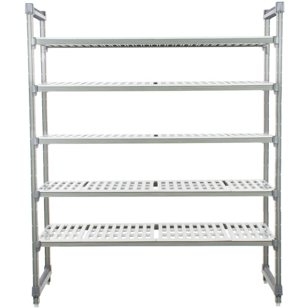 "Cambro ESU213064V5580 Camshelving® Elements Vented 5 Shelf Stationary Starter Unit - 21"" x 30"" x 64"""