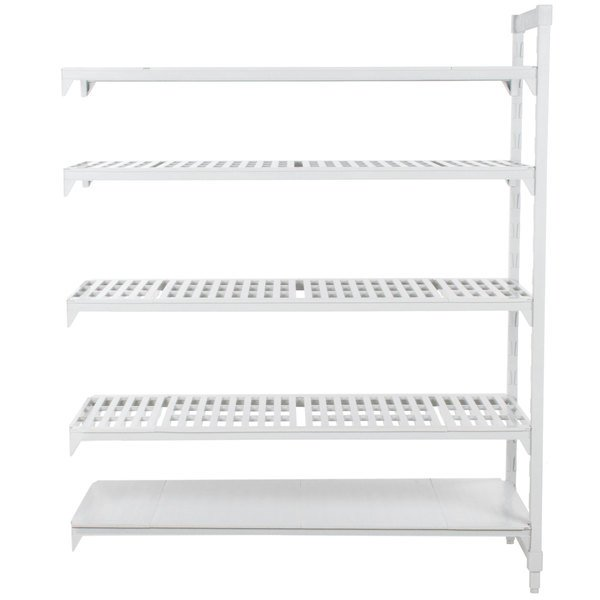 "Cambro CPA183084VS5PKG Camshelving® Premium Stationary Add-On Shelving Unit with 4 Vented Shelves and 1 Solid Shelf - 18"" x 30"" x 84"""
