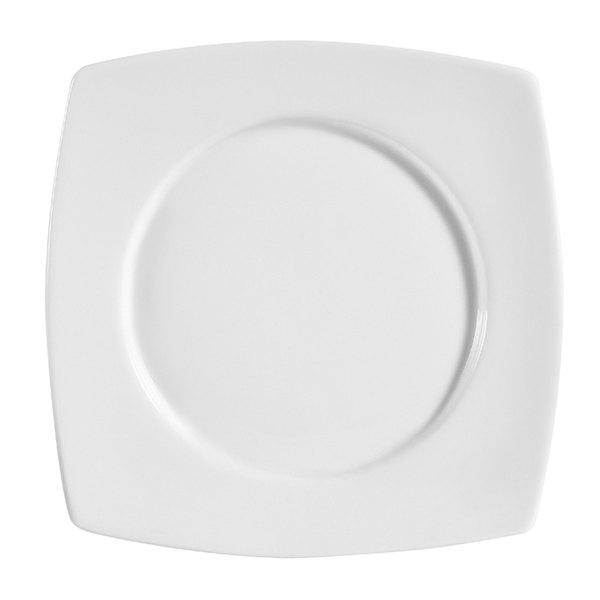 """CAC RCN-SQ23 Bright White Clinton Round in Square Plate 13 1/2"""" - 12/Case"""