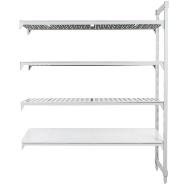 "Cambro CPA187284VS4PKG Camshelving® Premium Stationary Add-On Shelving Unit with 3 Vented Shelves and 1 Solid Shelf - 18"" x 72"" x 84"""