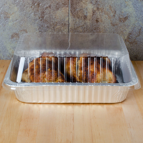"Durable Packaging P6700-100 3"" Clear Dome Lid for 14 1/2"" x 10 5/8"" Foil Roast Pan - 100/Case Main Image 3"