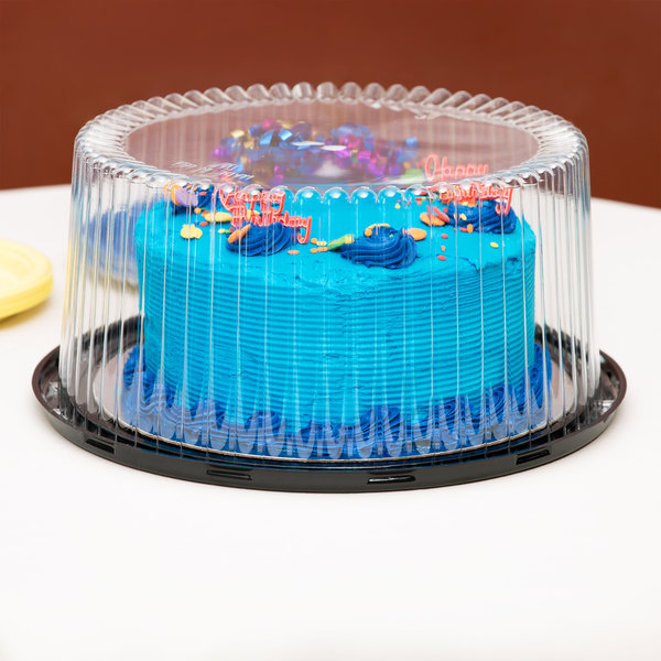 "D&W Fine Pack G40-1 10"" 2-3 Layer Cake Display Container with Clear Dome Lid - 80/Case Main Image 3"
