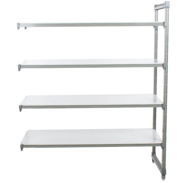 "Cambro EA242464S4580 Camshelving Elements 4 Shelf Solid Add On Unit - 24"" x 24"" x 64"""
