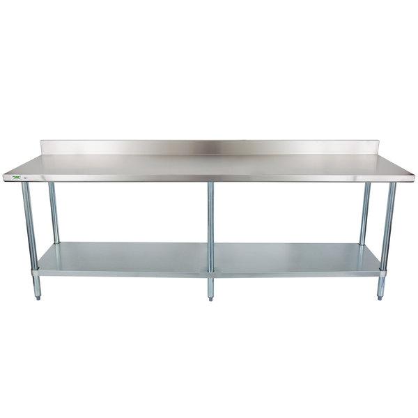 "Regency 24"" x 96"" 18-Gauge 304 Stainless Steel Commercial Work Table with 4"" Backsplash and Galvanized Undershelf"