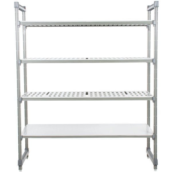 """Cambro ESU186072VS4580 Camshelving® Elements Stationary Starter Unit with 3 Vented Shelves and 1 Solid Shelf - 18"""" x 60"""" x 72"""" Main Image 1"""