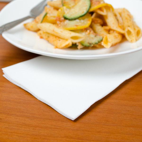 """Hoffmaster FP1100 FashnPoint 15 1/2"""" x 15 1/2"""" White Linen-Feel Dinner Napkin, 1/8 Fold - 800/Case Main Image 2"""