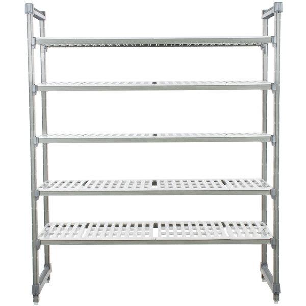 "Cambro ESU244872V5580 Camshelving® Elements Vented 5 Shelf Stationary Starter Unit - 24"" x 48"" x 72"""