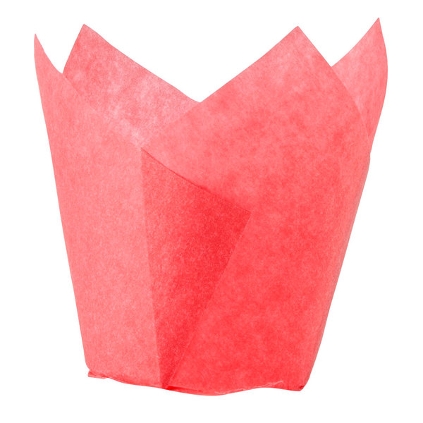 """Hoffmaster 611105 2 1/4"""" x 4"""" Red Tulip Baking Cups - 250/Pack"""