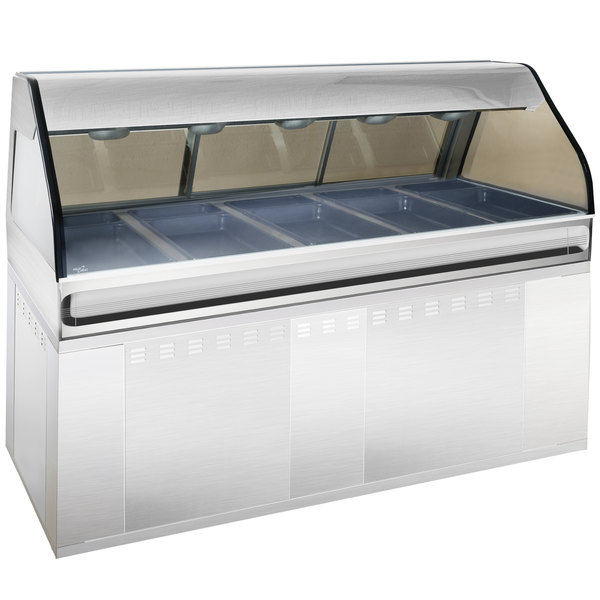 """Alto-Shaam EU2SYS-72 SS Stainless Steel Cook / Hold / Display Case with Curved Glass and Base - Full Service, 72"""" Main Image 1"""