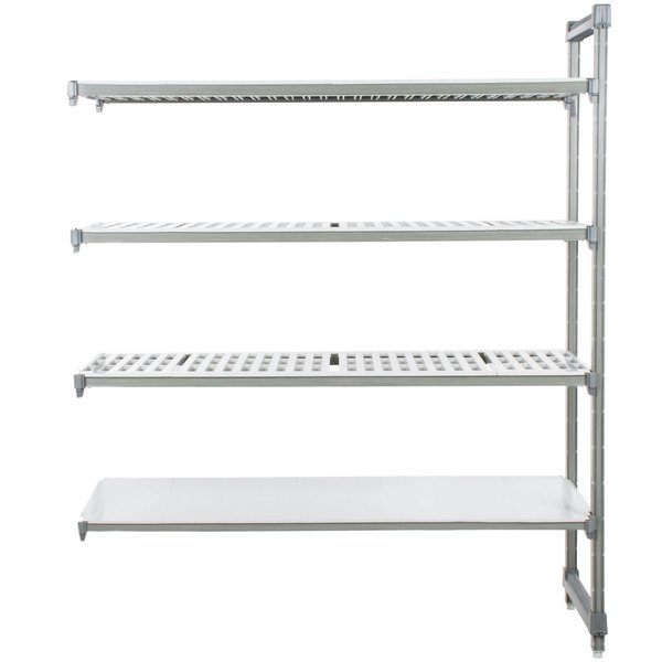 """Cambro EA187272VS4580 Camshelving Elements Stationary Add-On Shelving Unit with 3 Vented Shelves and 1 Solid Shelf - 18"""" x 72"""" x 72"""""""