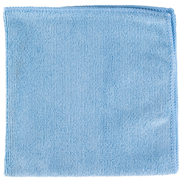 "Unger ME40B SmartColor MicroWipe 16"" x 16"" Blue UltraLite Microfiber Cleaning Cloth - 10/Pack"