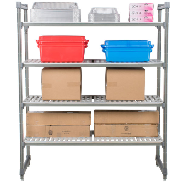 "Cambro ESU183684V4580 Camshelving® Elements Vented 4 Shelf Stationary Starter Unit - 18"" x 36"" x 84"""