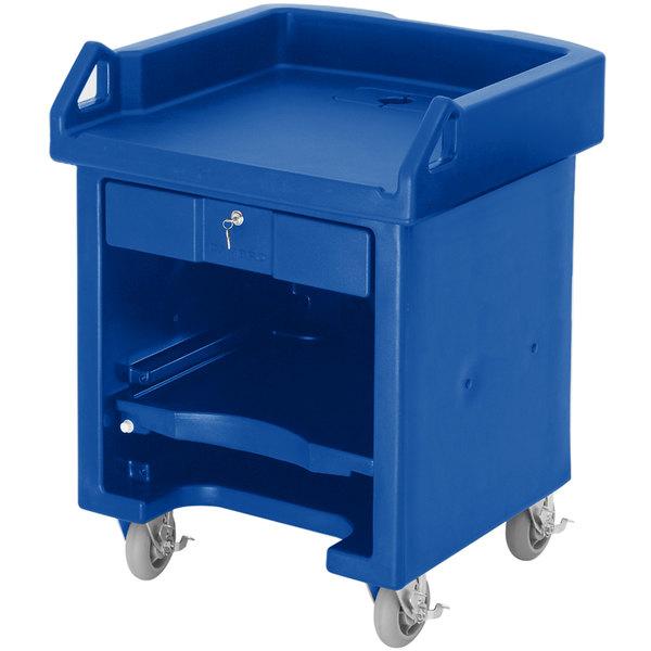Cambro VCSHD186 Navy Blue Versa Cart with Heavy Duty Casters Main Image 1