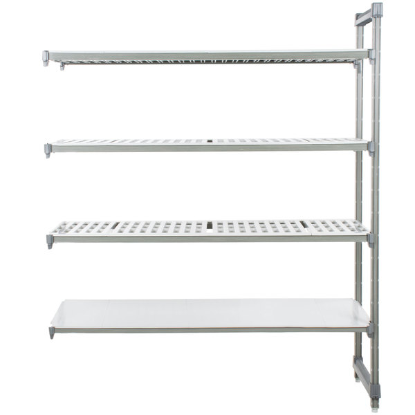 "Cambro EA213684VS4580 Camshelving® Elements Stationary Add-On Shelving Unit with 3 Vented Shelves and 1 Solid Shelf - 21"" x 36"" x 84"""