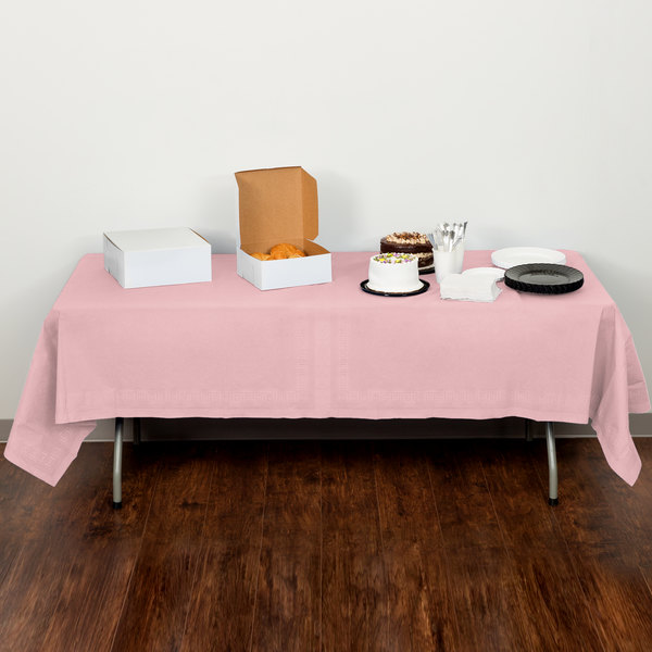 "Creative Converting 710129 54"" x 108"" Classic Pink Tissue / Poly Table Cover Main Image 5"