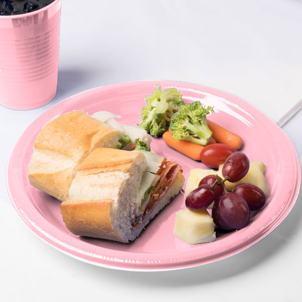 "Creative Converting 28158031 10"" Classic Pink Plastic Plate - 20/Pack"