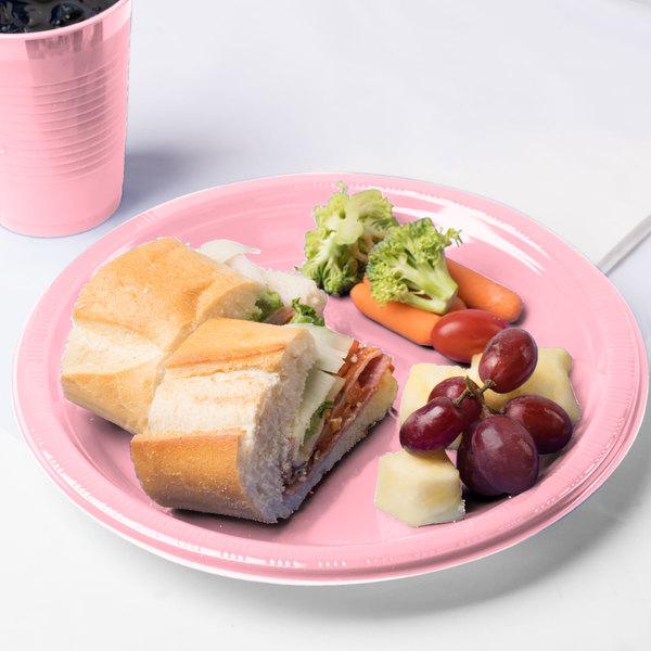 "Creative Converting 28158031 10"" Classic Pink Plastic Plate - 240/Case"