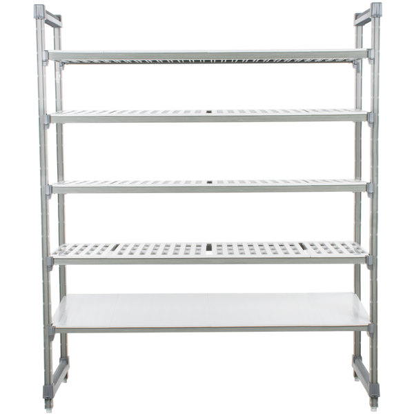 "Cambro ESU243684VS5580 Camshelving Elements Stationary Starter Unit with 4 Vented Shelves and 1 Solid Shelf - 24"" x 36"" x 84"""
