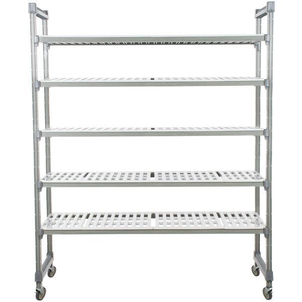 "Cambro EMU184870V5580 Camshelving® Elements Mobile Shelving Unit with 5 Vented Shelves - 18"" x 48"" x 70"""