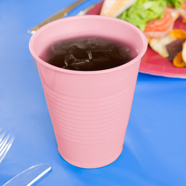 Creative Converting 28158081 16 oz. Classic Pink Plastic Cup - 240/Case Main Image 3