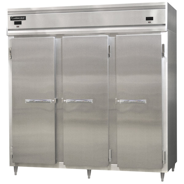 """Continental Refrigerator DL3RRF-SS Designer Line 78"""" Stainless Steel Three Section Dual Temperature Reach-In Refrigerator / Freezer - 71 Cu. Ft."""