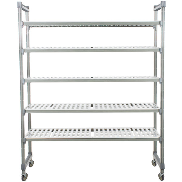 "Cambro EMU184878V5580 Camshelving Elements Mobile Shelving Unit with 5 Vented Shelves - 18"" x 48"" x 78"""