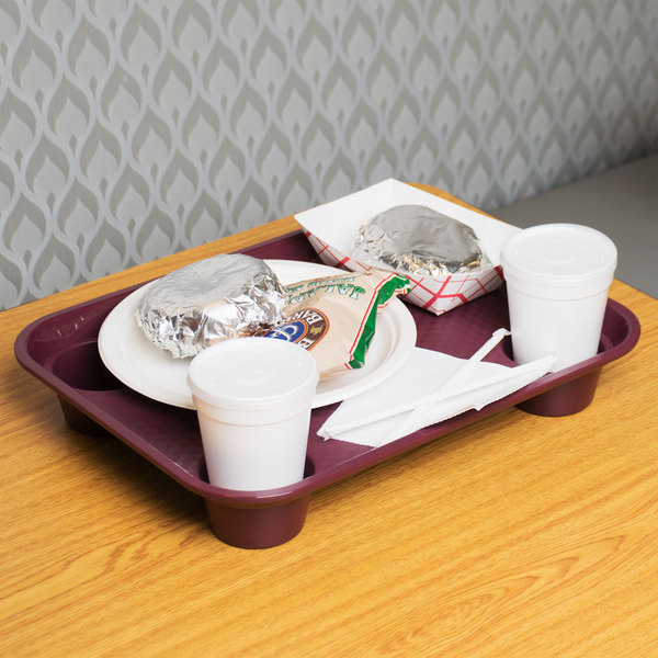 "GET FT-20-BU 14"" x 17"" Burgundy Plastic Fast Food Tray with Cup Holders - 12/Case"