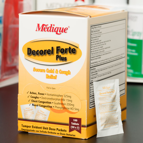 Medique 42533 Decorel Forte Plus Cold Relief Tablets - 100/Box