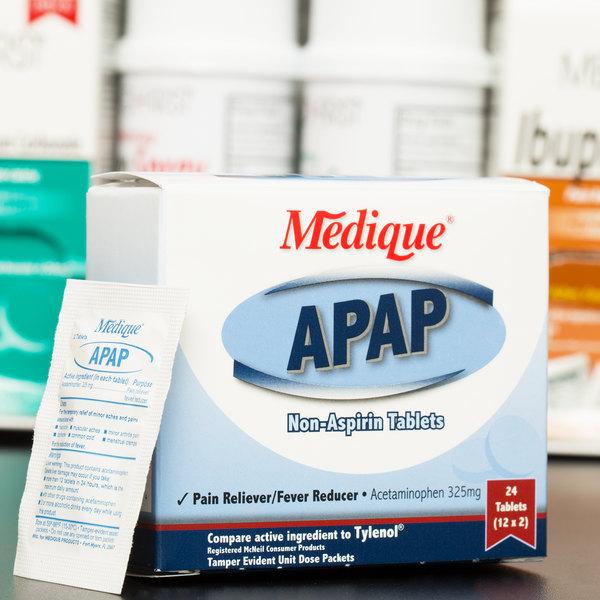 Medique 14564 APAP Acetaminophen Tablets - 24/Box