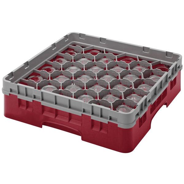 "Cambro 30S800416 Cranberry Camrack Customizable 30 Compartment 8 1/2"" Glass Rack Main Image 1"