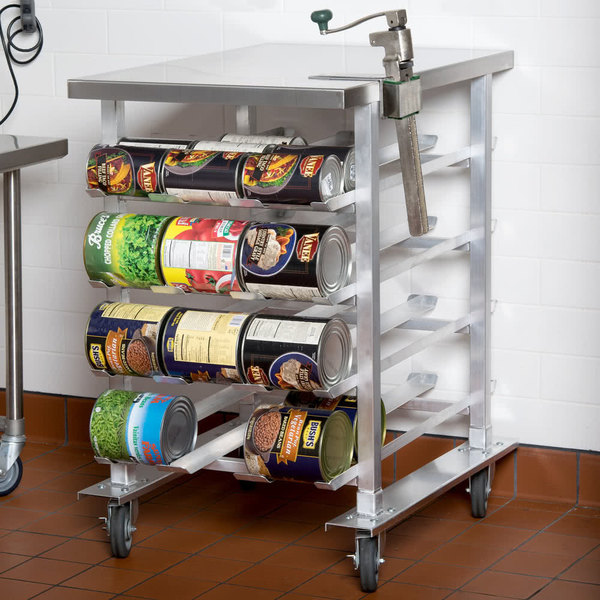 Regency CANSTN72 Half Size Mobile Aluminum Can Rack for #10 and #5 Cans with Stainless Steel Top and Heavy Duty Can Opener Main Image 3