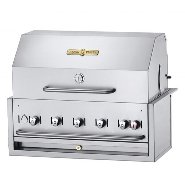 """Crown Verity BI-36PKG Liquid Propane 36"""" Stainless Steel Built In Outdoor BBQ Grill / Charbroiler with Roll Dome Package Main Image 1"""