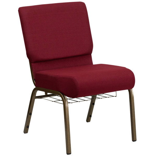 """Flash Furniture FD-CH0221-4-GV-3169-BAS-GG Burgundy 21"""" Extra Wide Church Chair with Communion Cup Book Rack - Gold Vein Frame"""