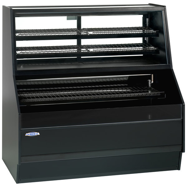 "Federal Industries ESSRC-5952 Elements Black 59"" Air Curtain Merchandiser with Convertible Top - 17 Cu. Ft."