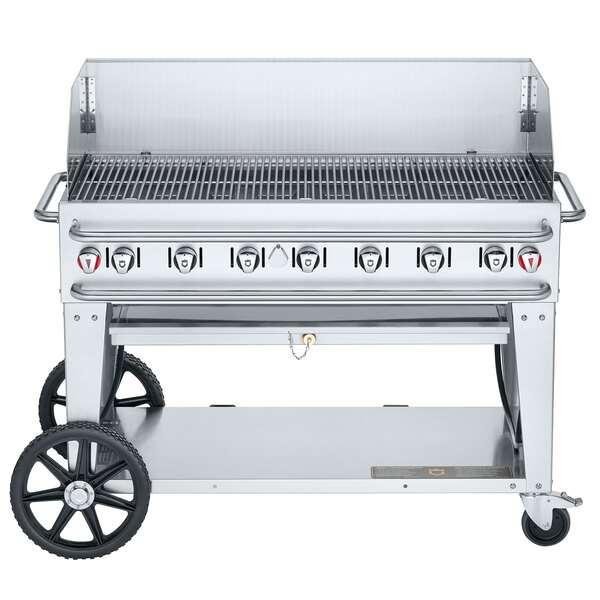 "Crown Verity RCB-48WGP-SI-LP 48"" Pro Series Outdoor Rental Grill with Single Gas Inlet and Wind Guard Package Main Image 1"