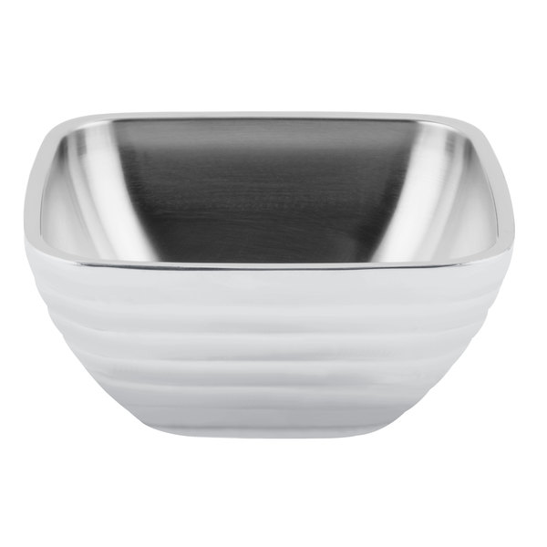 Vollrath 4763750 Double Wall Square Beehive 8.2 Qt. Serving Bowl - Pearl White