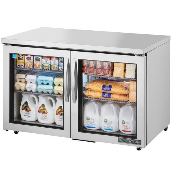 True TUC-48G-ADA-LD 48 inch ADA Height Undercounter Refrigerator with Glass Doors