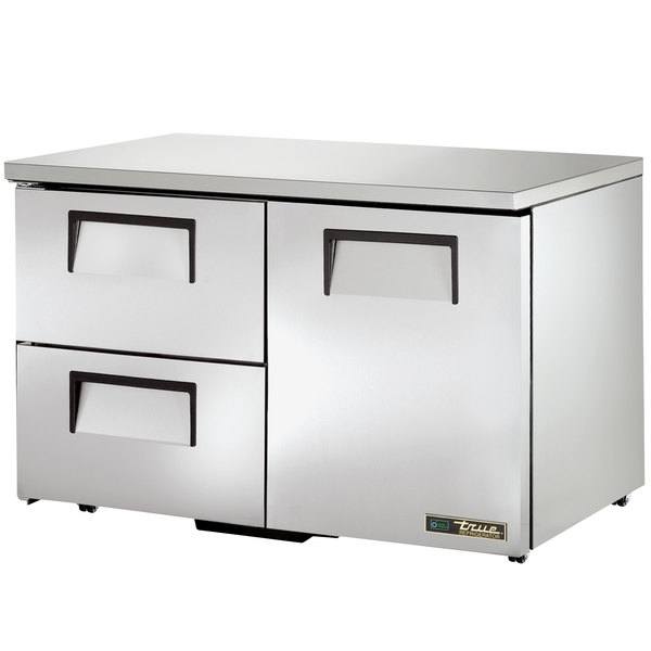 True TUC-48D-2-LP 48 inch Low Profile Undercounter Refrigerator with One Door and Two Drawers