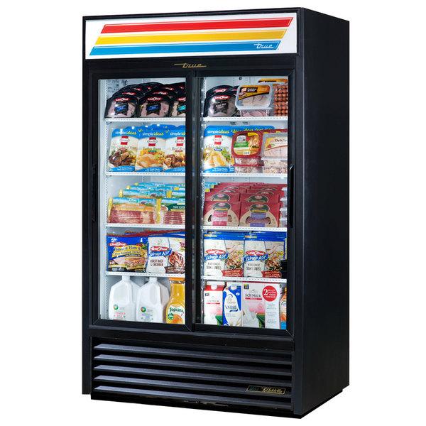 True GDM-41-LD 47 inch Black Refrigerated Sliding Glass Door Merchandiser with LED Lighting