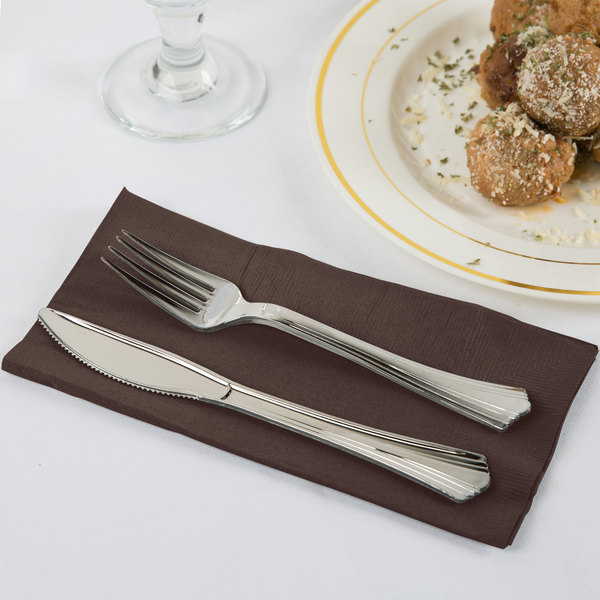 Chocolate Brown Paper Dinner Napkins, 2-Ply 1/8 Fold - Creative Converting 673038B - 50/Pack